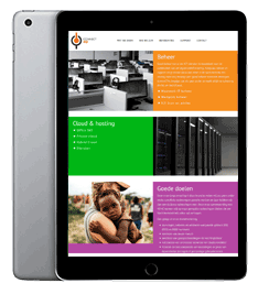 De WordPress website van ICONNECT4U op een Ipad